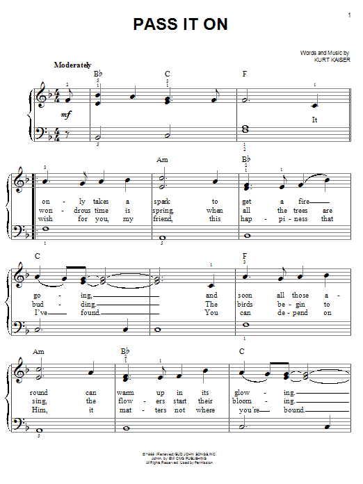 Kurt Kaiser Pass It On sheet music notes and chords. Download Printable PDF.