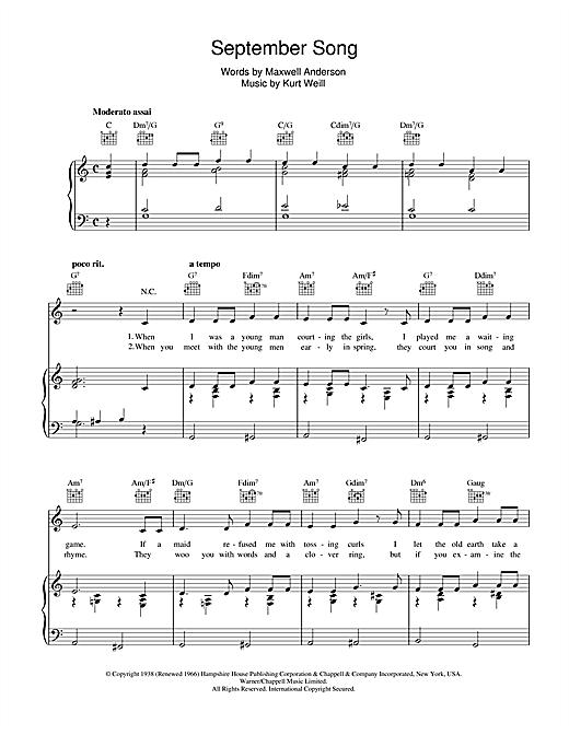 Kurt Weill September Song sheet music notes and chords. Download Printable PDF.