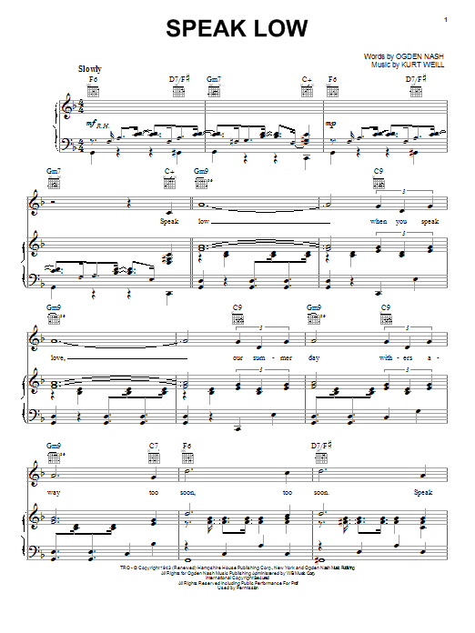 Kurt Weill Speak Low sheet music notes and chords. Download Printable PDF.