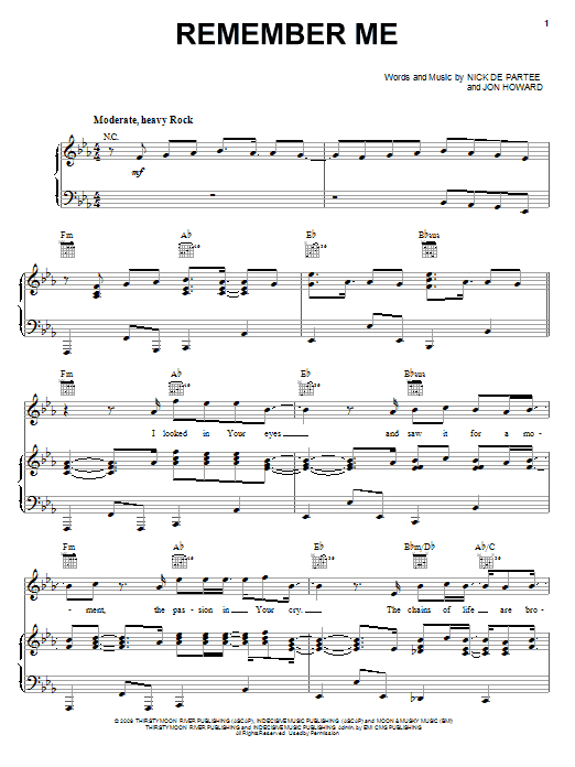 Kutless Remember Me sheet music notes and chords. Download Printable PDF.