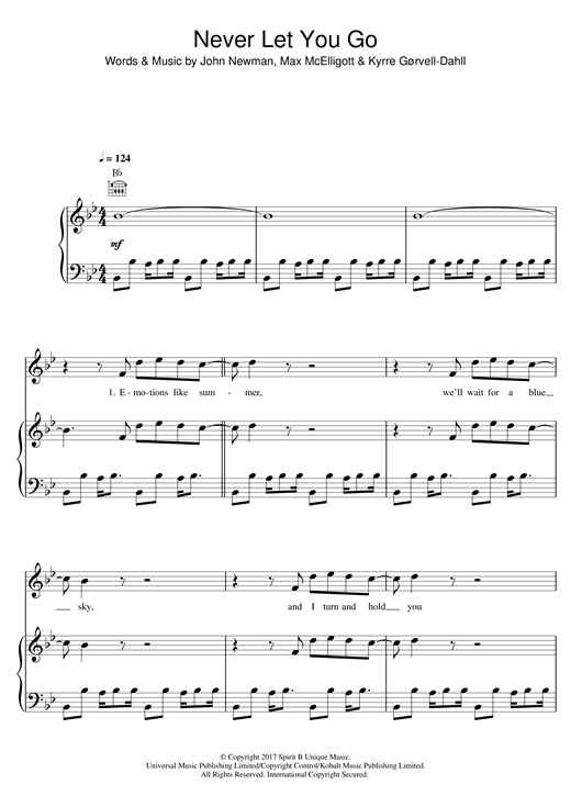 Kygo Never Let You Go (feat. John Newman) sheet music notes and chords. Download Printable PDF.