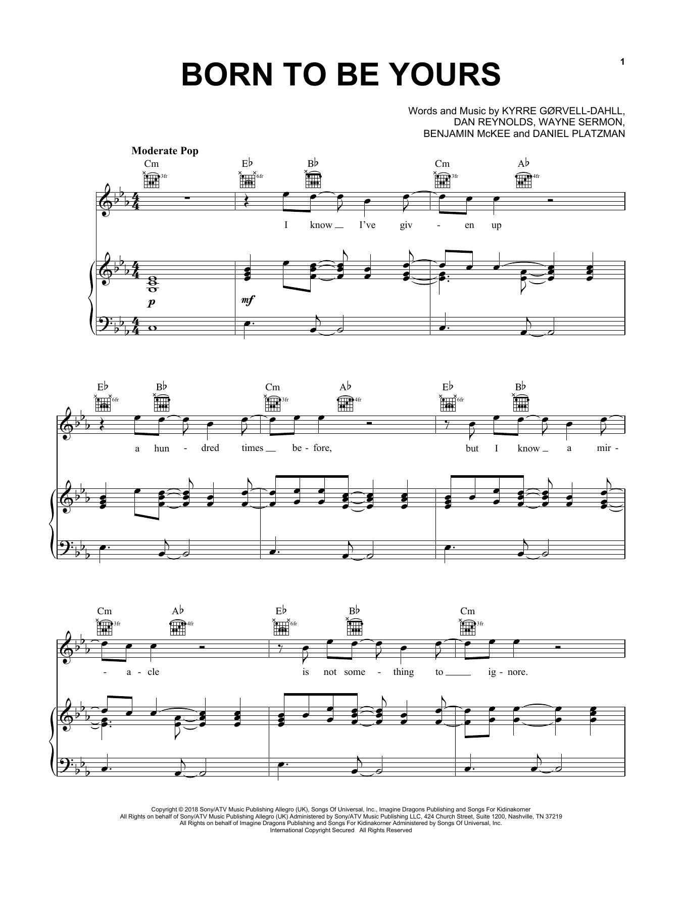 Kygo & Imagine Dragons Born To Be Yours sheet music notes and chords. Download Printable PDF.