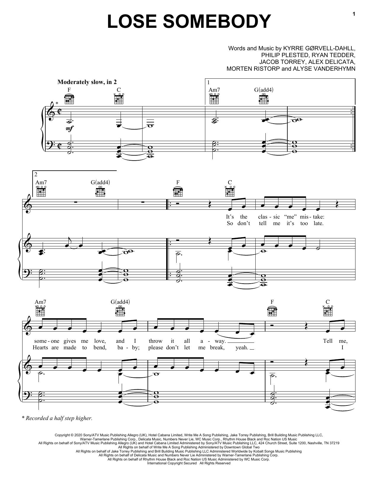 Kygo & OneRepublic Lose Somebody sheet music notes and chords. Download Printable PDF.