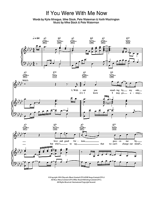 Kylie Minogue If You Were With Me Now sheet music notes and chords. Download Printable PDF.
