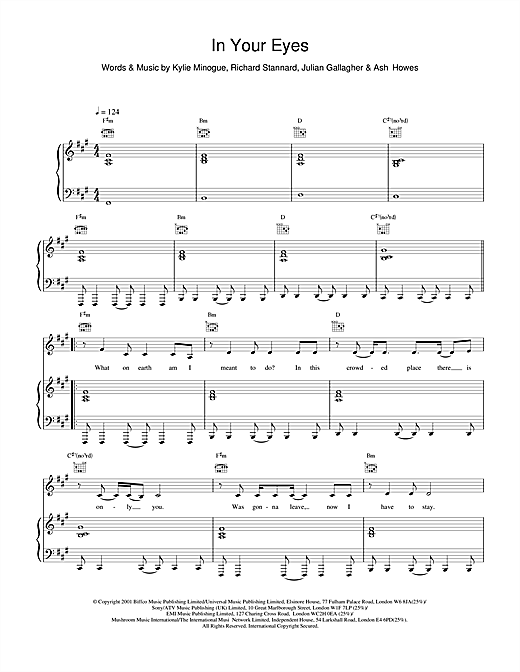 Kylie Minogue In Your Eyes sheet music notes and chords
