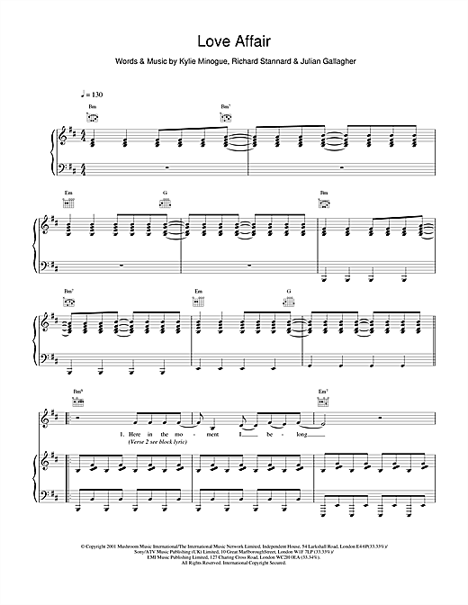 Kylie Minogue Love Affair sheet music notes and chords