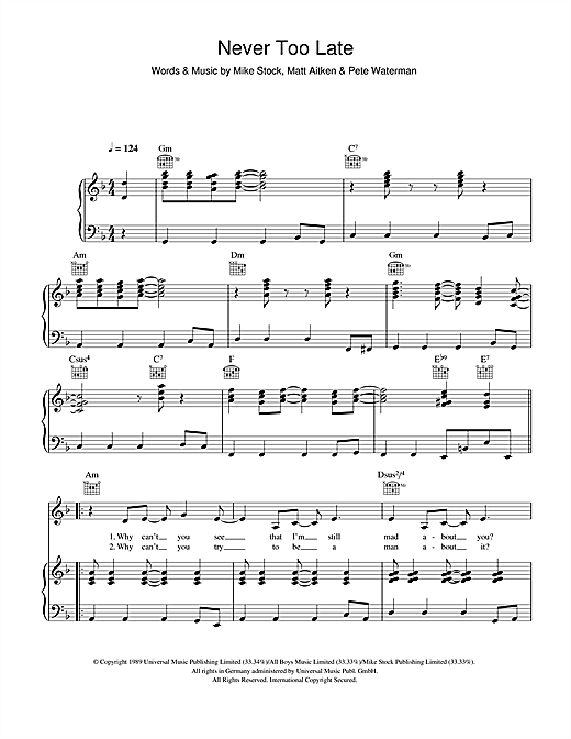 Kylie Minogue Never Too Late sheet music notes and chords. Download Printable PDF.