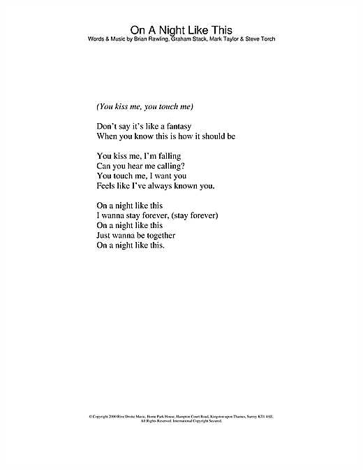 Kylie Minogue On A Night Like This sheet music notes and chords. Download Printable PDF.