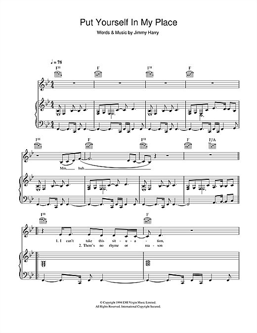 Kylie Minogue Put Yourself In My Place sheet music notes and chords. Download Printable PDF.