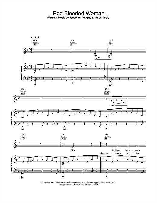 Kylie Minogue Red Blooded Woman sheet music notes and chords. Download Printable PDF.