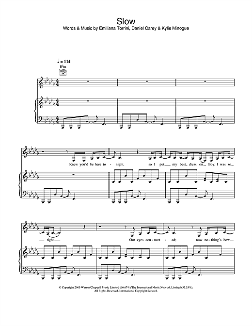 Kylie Minogue Slow sheet music notes and chords. Download Printable PDF.