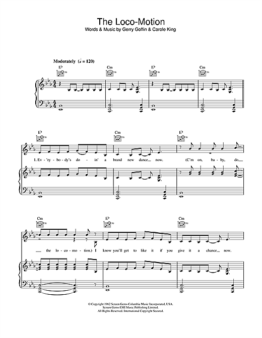 Kylie Minogue The Loco-Motion sheet music notes and chords. Download Printable PDF.