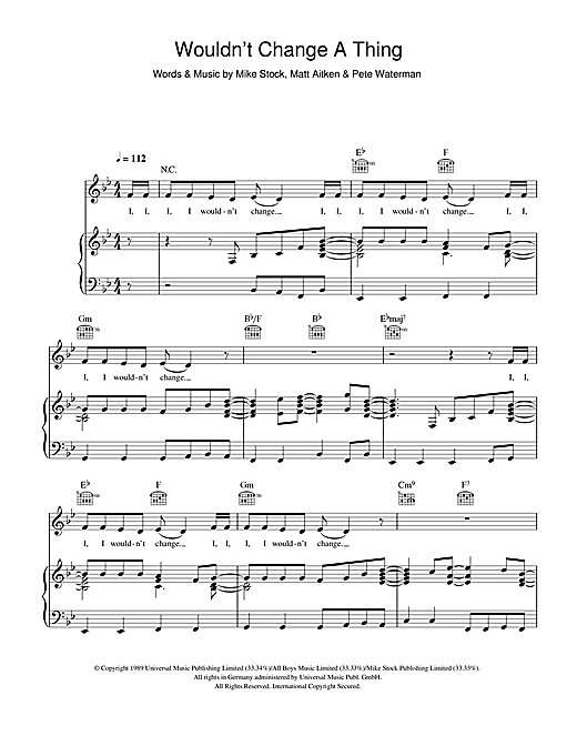 Kylie Minogue Wouldn't Change A Thing sheet music notes and chords. Download Printable PDF.