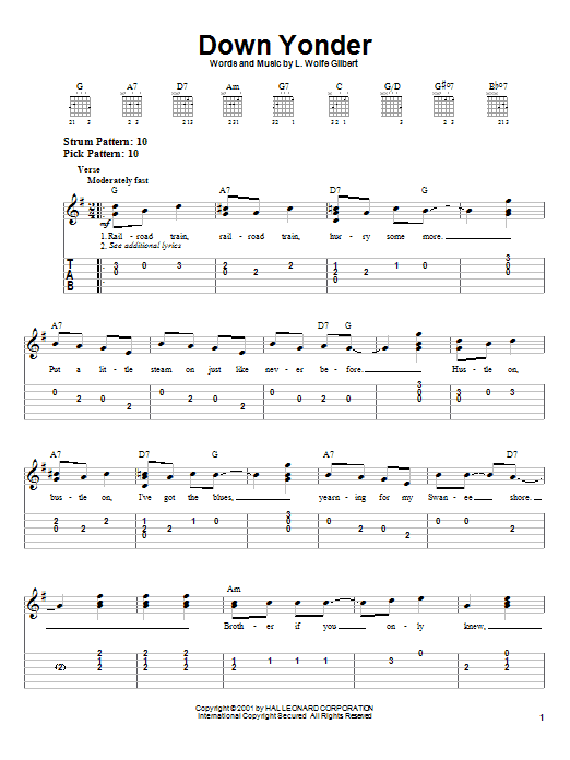 L. Wolfe Gilbert Down Yonder sheet music notes and chords. Download Printable PDF.