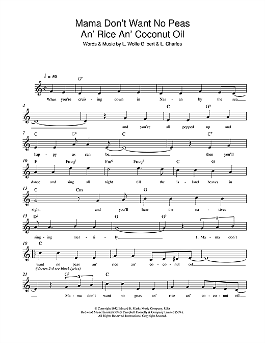 L. Wolfe Gilbert Mama Don't Want No Peas An' Rice An' Coconut Oil sheet music notes and chords. Download Printable PDF.