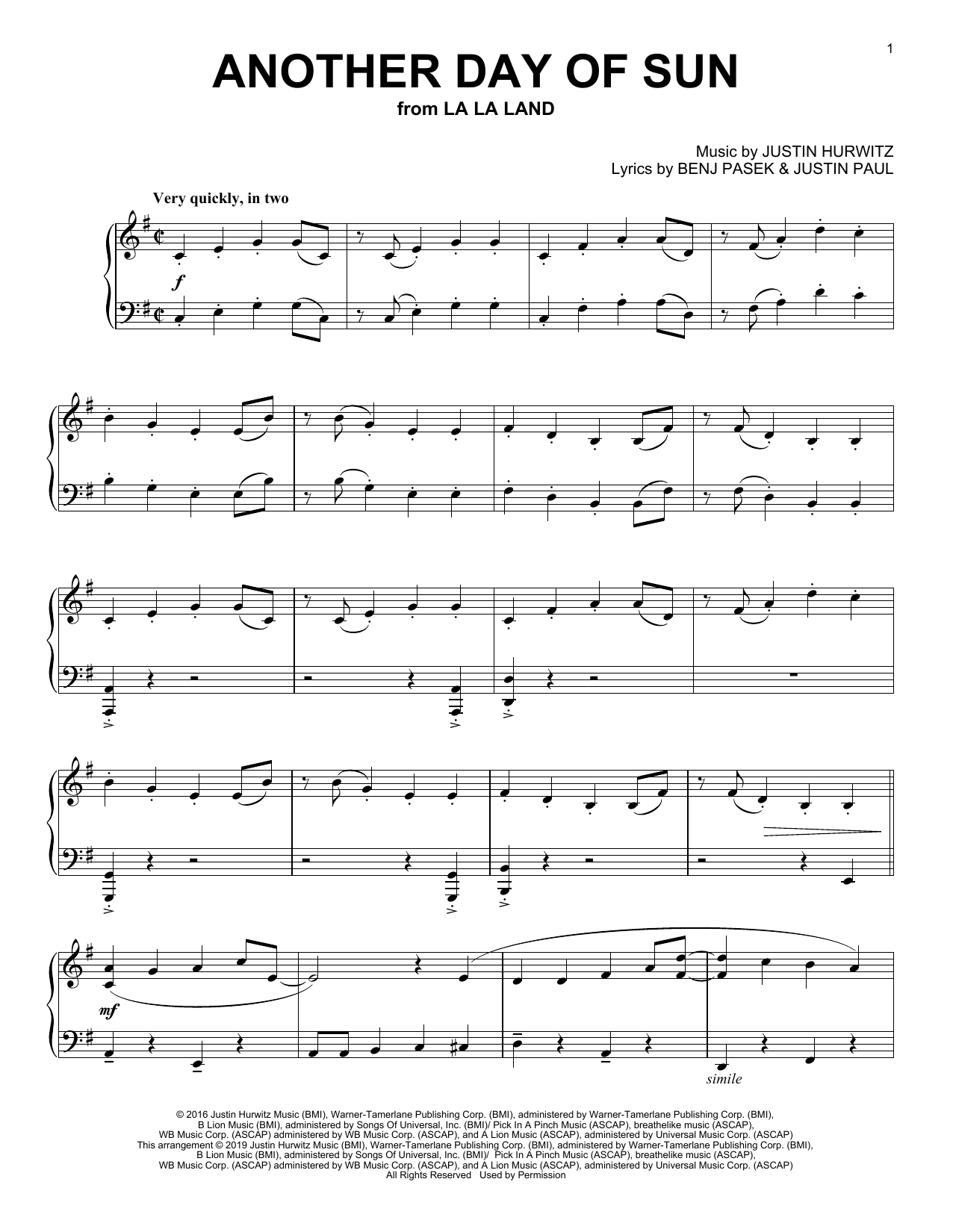 La La Land Cast Another Day Of Sun From La La Land Sheet Music Pdf Notes Chords Film Tv Score Piano Vocal Download Printable Sku 180357