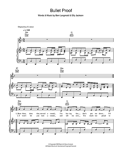 La Roux Bullet Proof sheet music notes and chords. Download Printable PDF.