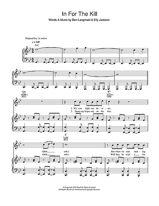 La Roux In For The Kill sheet music notes and chords. Download Printable PDF.