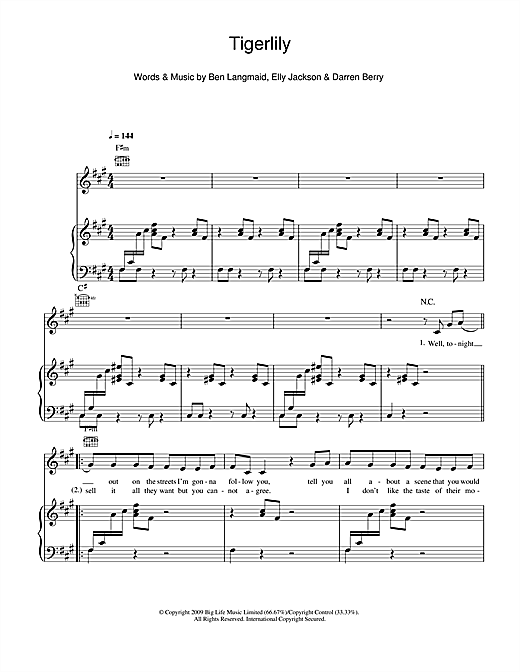 La Roux Tigerlily sheet music notes and chords. Download Printable PDF.