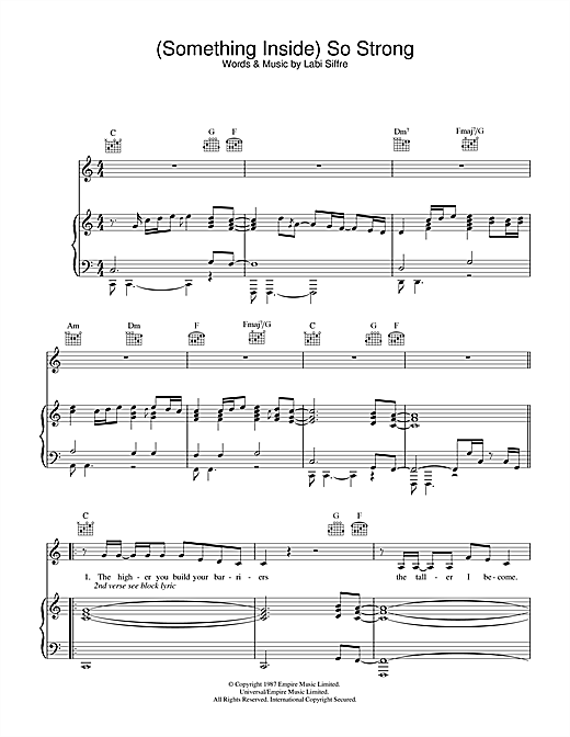 Labi Siffre (Something Inside) So Strong sheet music notes and chords. Download Printable PDF.