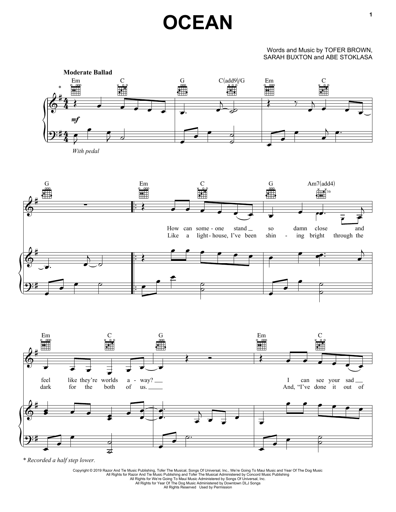 Lady Antebellum Ocean sheet music notes and chords