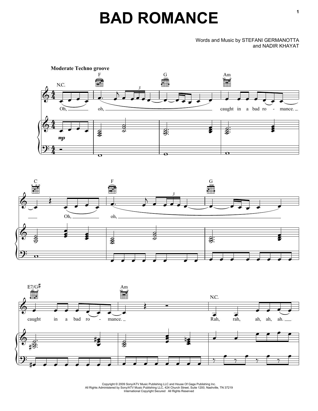 Lady Gaga Bad Romance sheet music notes and chords. Download Printable PDF.