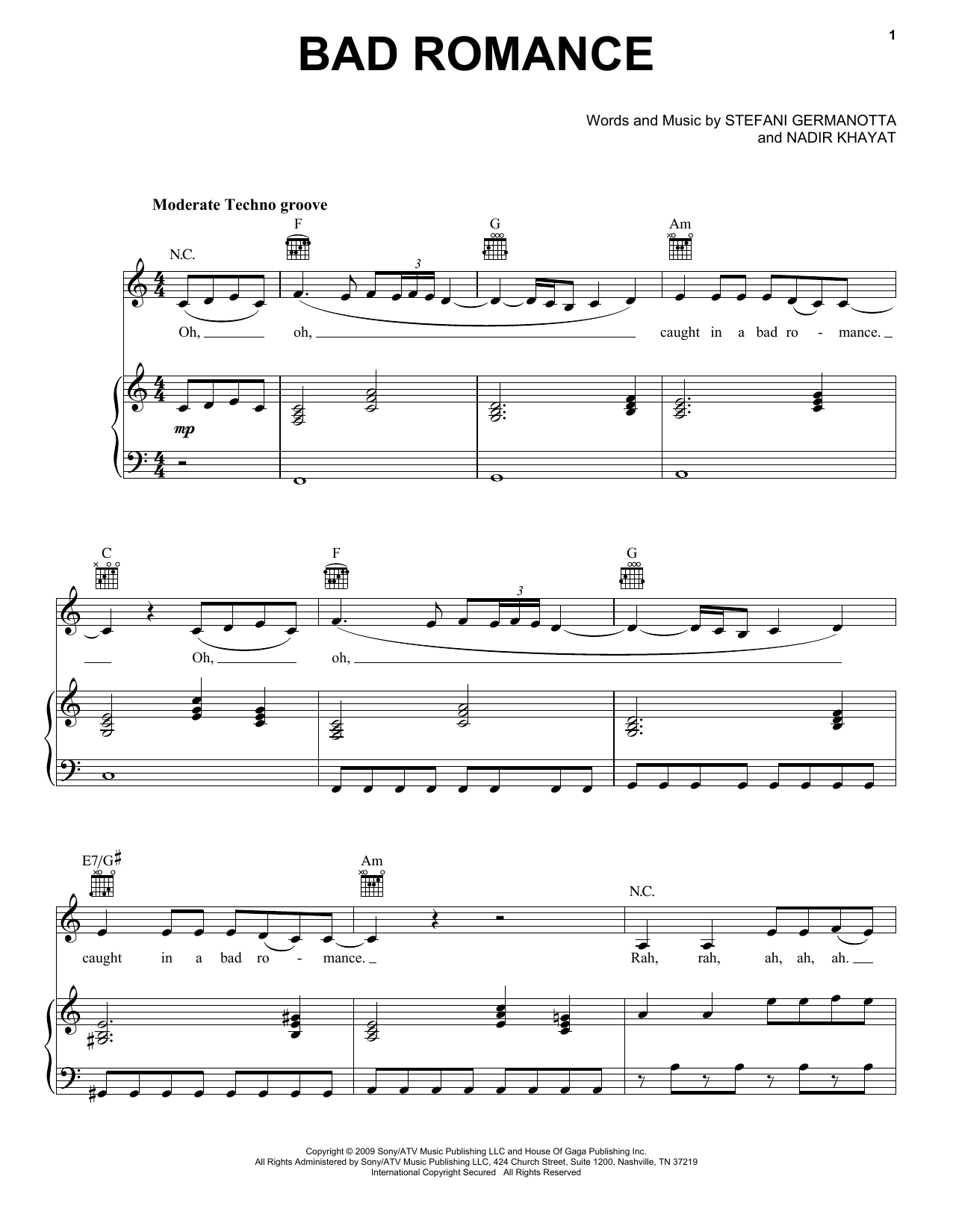 Lady Gaga Bad Romance sheet music notes and chords. Download Printable PDF.