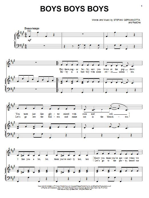 Lady GaGa Boys Boys Boys sheet music notes and chords. Download Printable PDF.