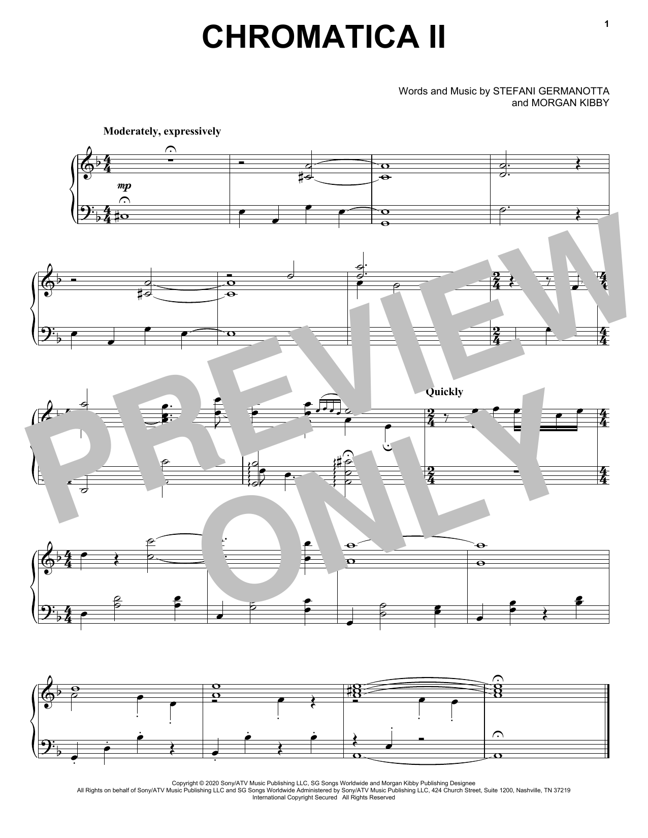 Lady Gaga Chromatica II sheet music notes and chords. Download Printable PDF.