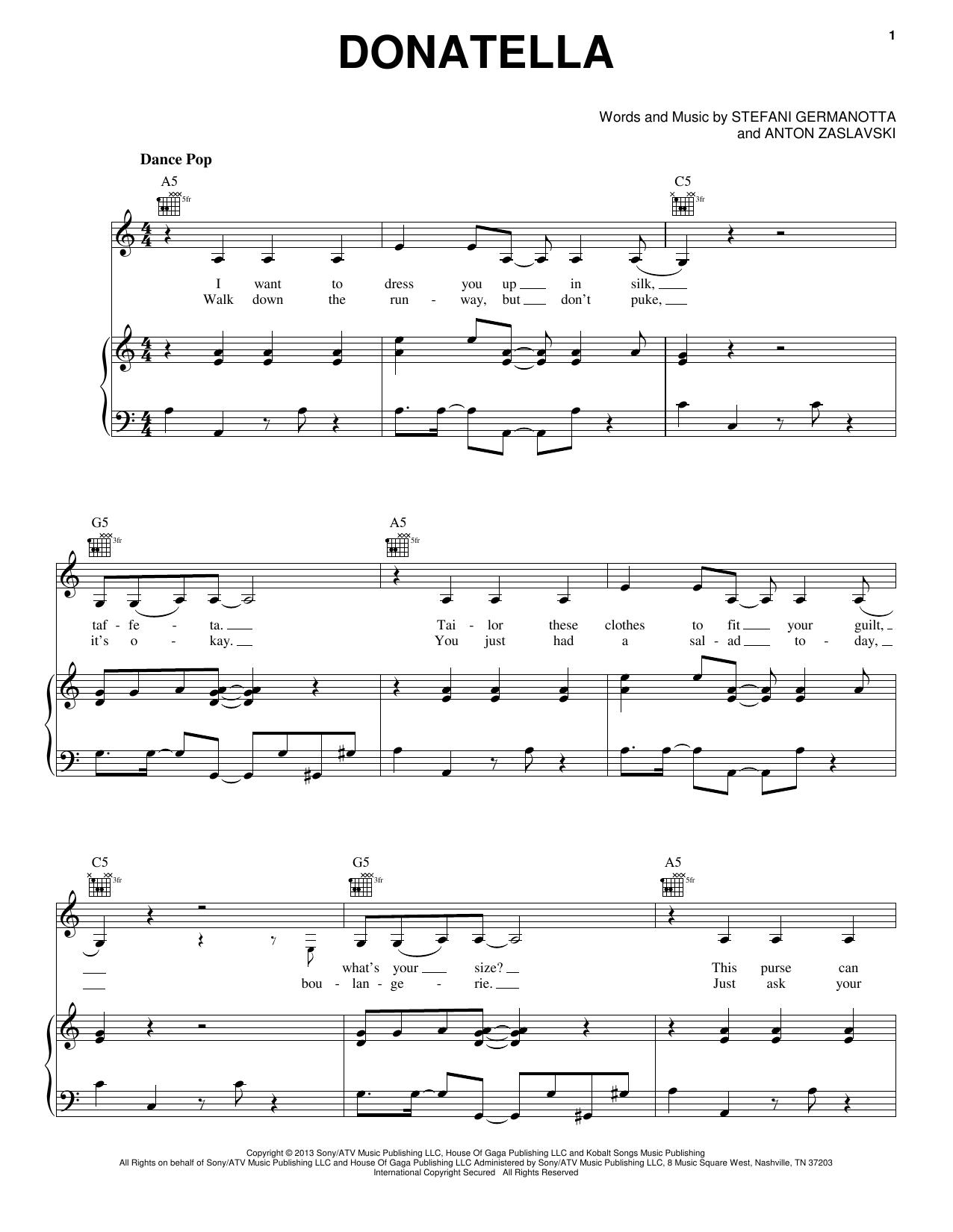 Lady Gaga Donatella sheet music notes and chords. Download Printable PDF.