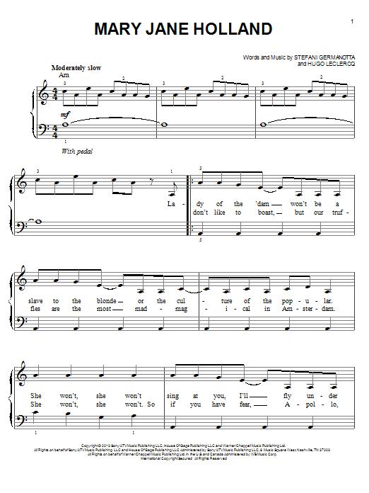 Lady Gaga Mary Jane Holland sheet music notes and chords. Download Printable PDF.