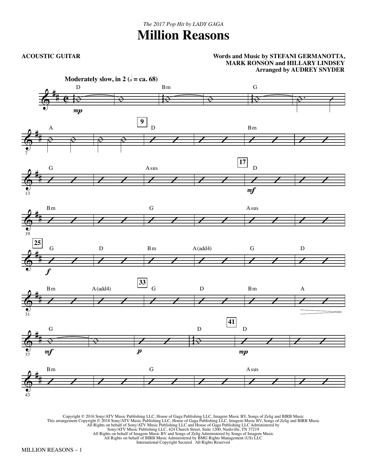 Lady Gaga Million Reasons (arr. Audrey Snyder) - Acoustic Guitar sheet music notes and chords. Download Printable PDF.