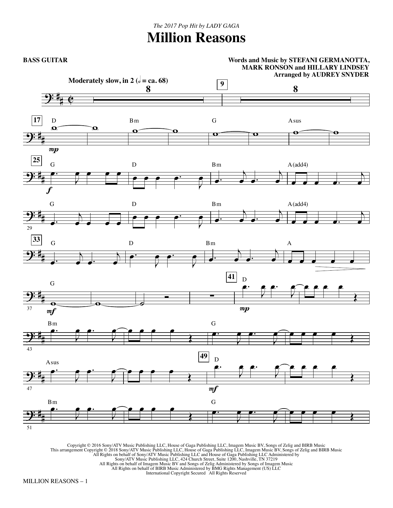 Lady Gaga Million Reasons (arr. Audrey Snyder) - Bass sheet music notes and chords. Download Printable PDF.