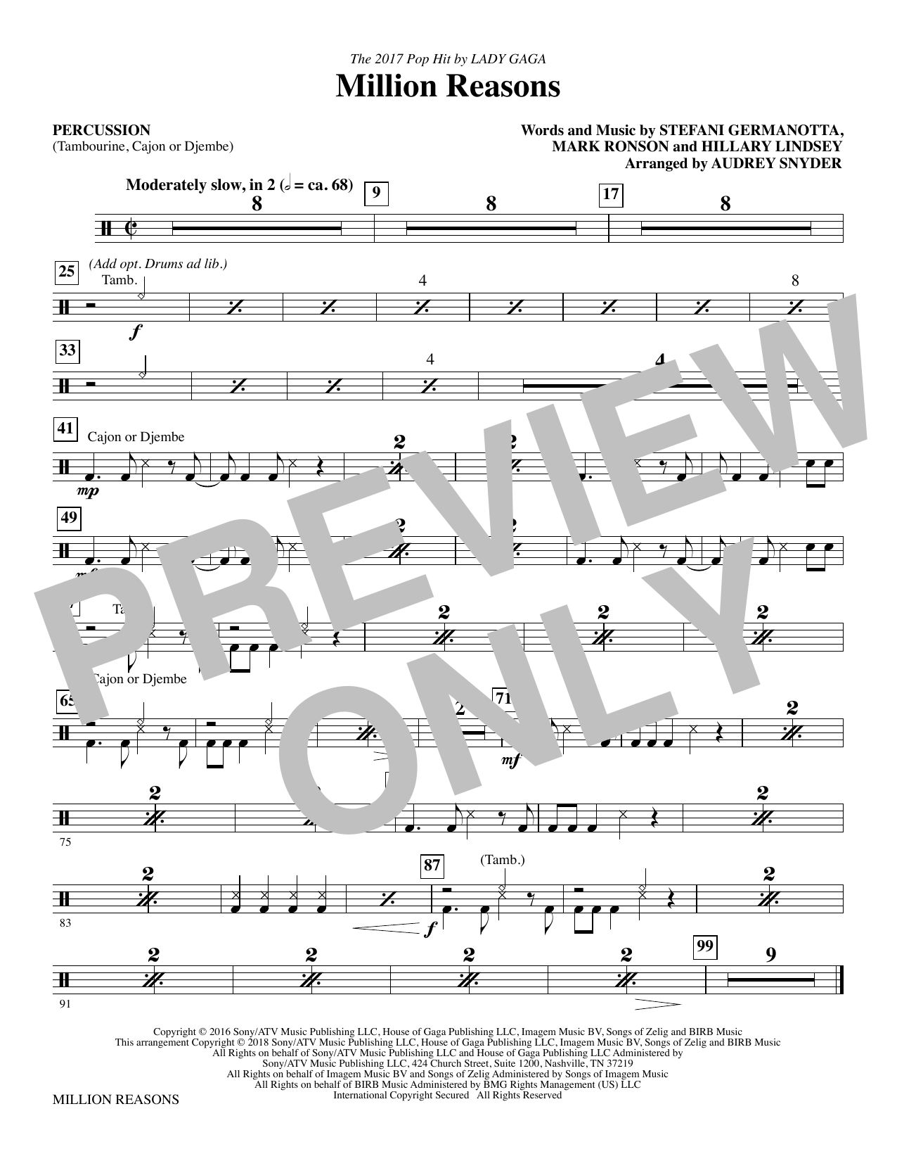Lady Gaga Million Reasons (arr. Audrey Snyder) - Percussion sheet music notes and chords. Download Printable PDF.