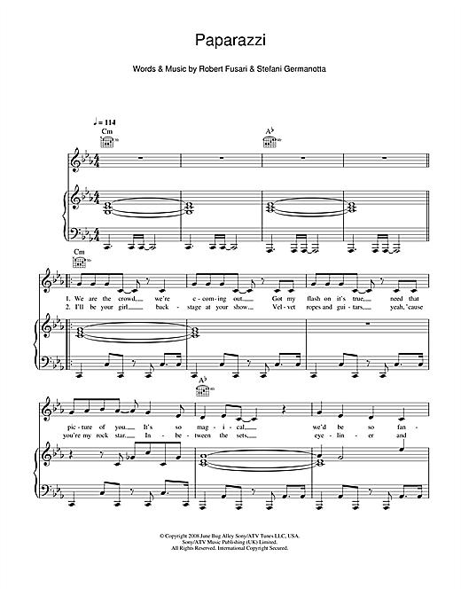 Lady Gaga Paparazzi sheet music notes and chords. Download Printable PDF.