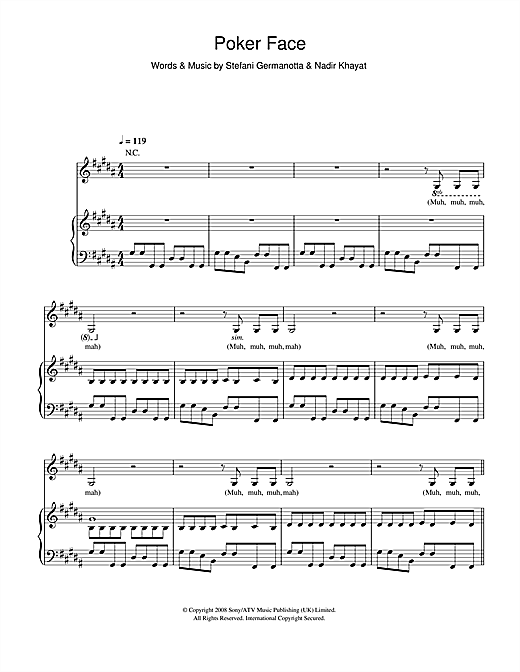 Lady Gaga Poker Face sheet music notes and chords. Download Printable PDF.