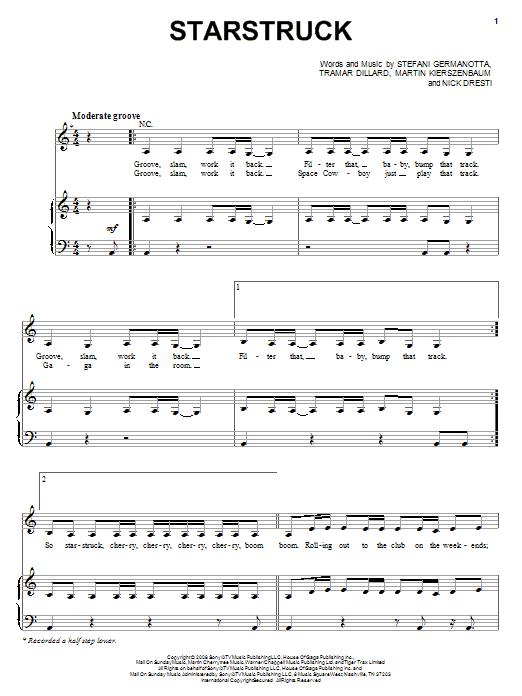 Lady Gaga Starstruck sheet music notes and chords. Download Printable PDF.