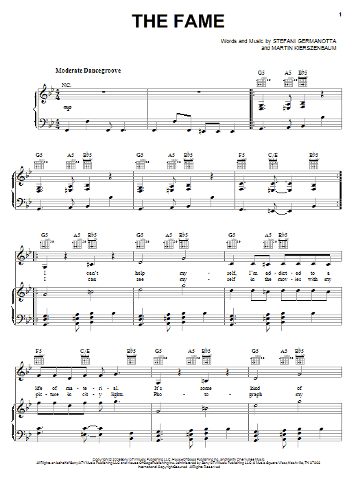 Lady Gaga The Fame sheet music notes and chords. Download Printable PDF.
