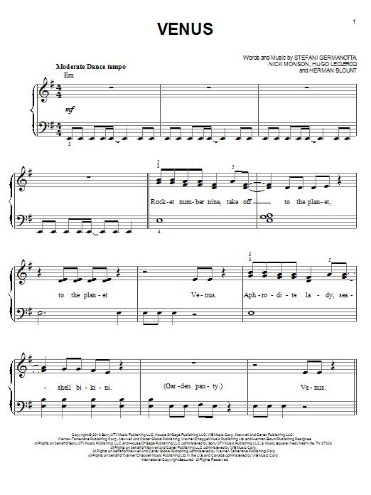 Lady Gaga Venus sheet music notes and chords. Download Printable PDF.