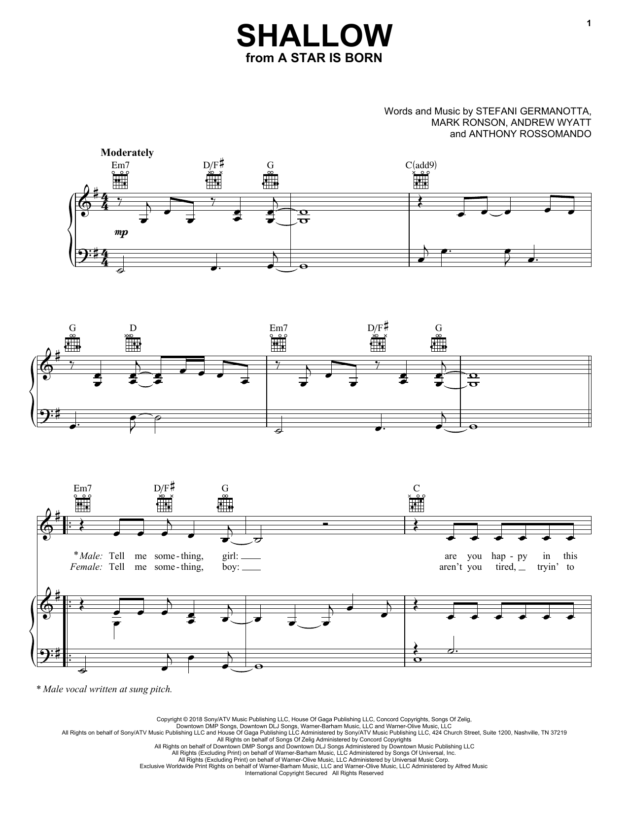Lady Gaga & Bradley Cooper Shallow (from A Star Is Born) sheet music notes and chords. Download Printable PDF.