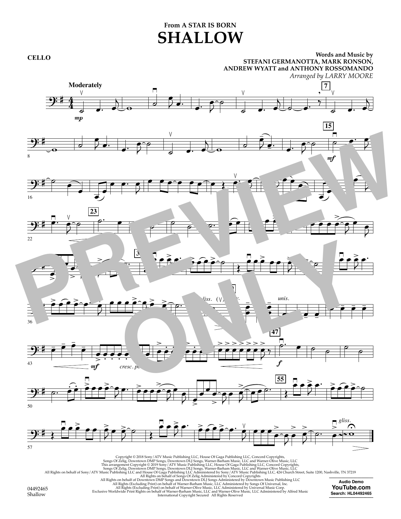 Lady Gaga & Bradley Cooper Shallow (from A Star Is Born) (arr. Larry Moore) - Cello sheet music notes and chords