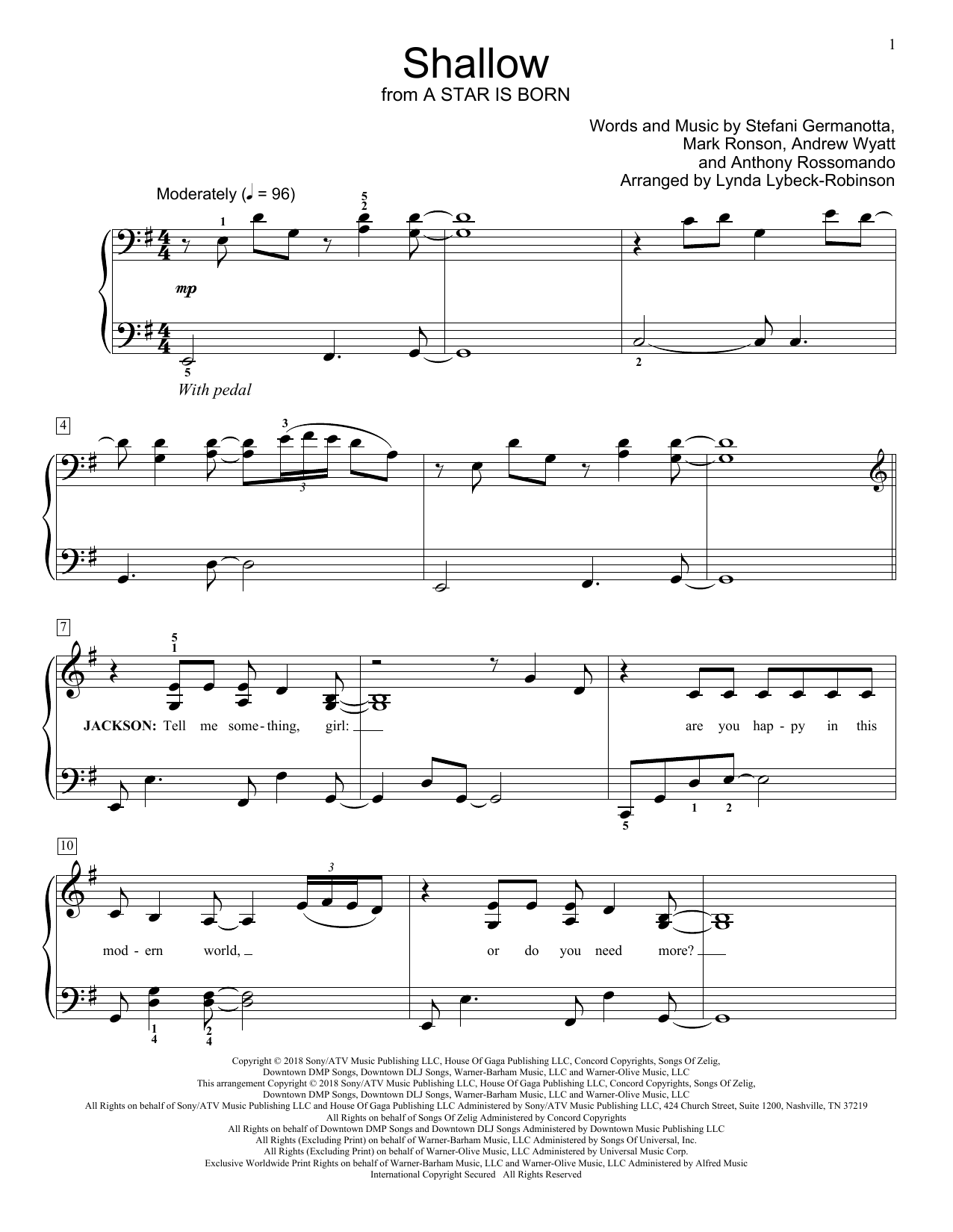 Lady Gaga & Bradley Cooper Shallow (from A Star Is Born) (arr. Lynda Lybeck-Robinson) sheet music notes and chords