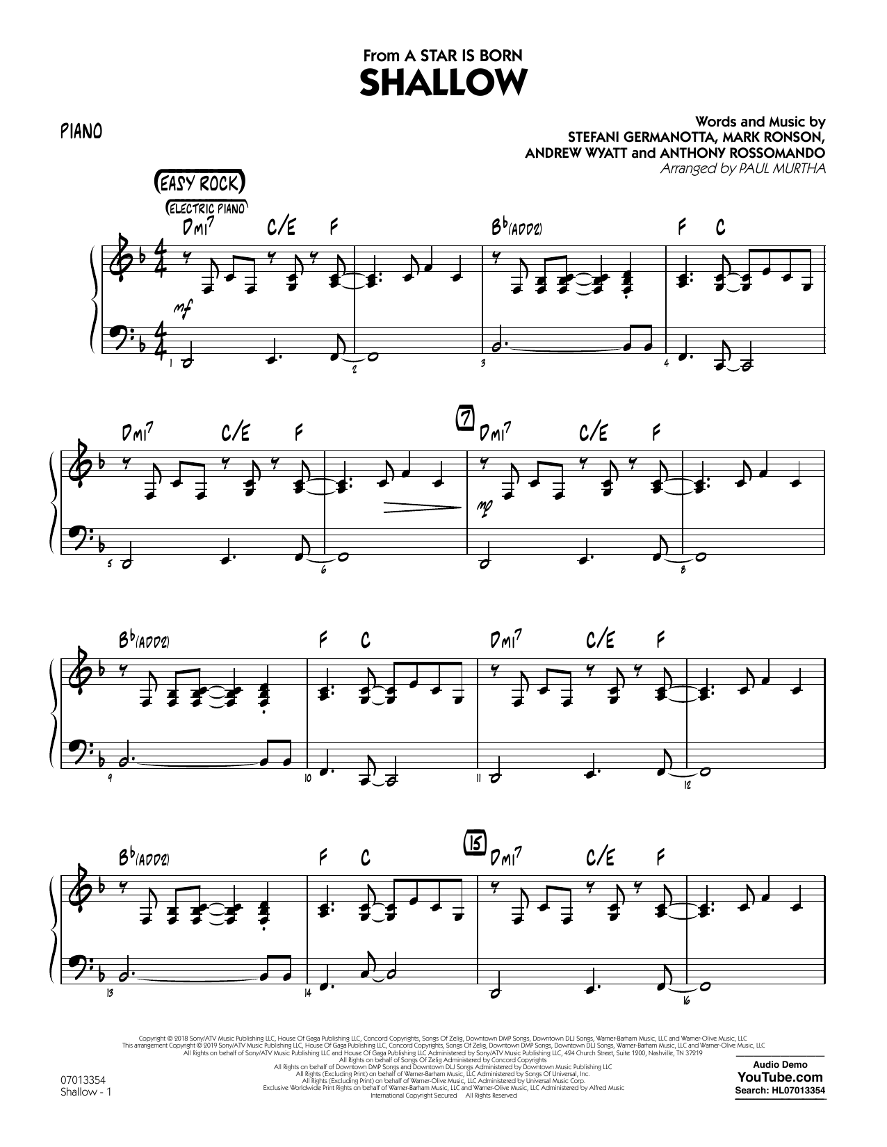 Lady Gaga Easy Piano Sheet Music Shallow from A Star Is Born