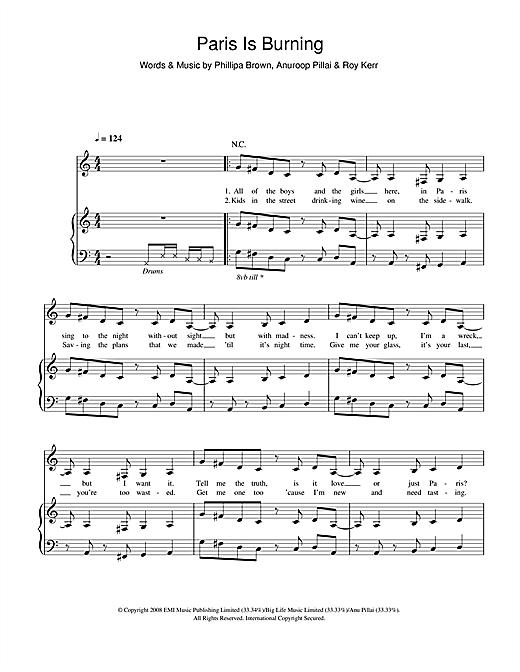 Ladyhawke Paris Is Burning sheet music notes and chords. Download Printable PDF.