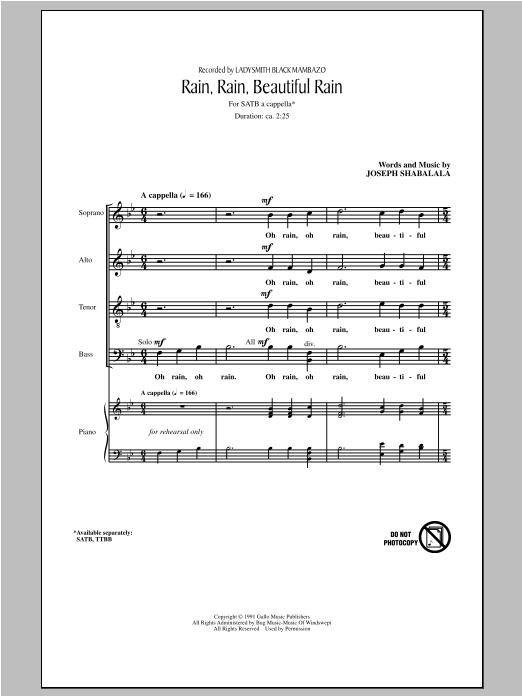 Ladysmith Black Mambazo Rain, Rain, Beautiful Rain sheet music notes and chords