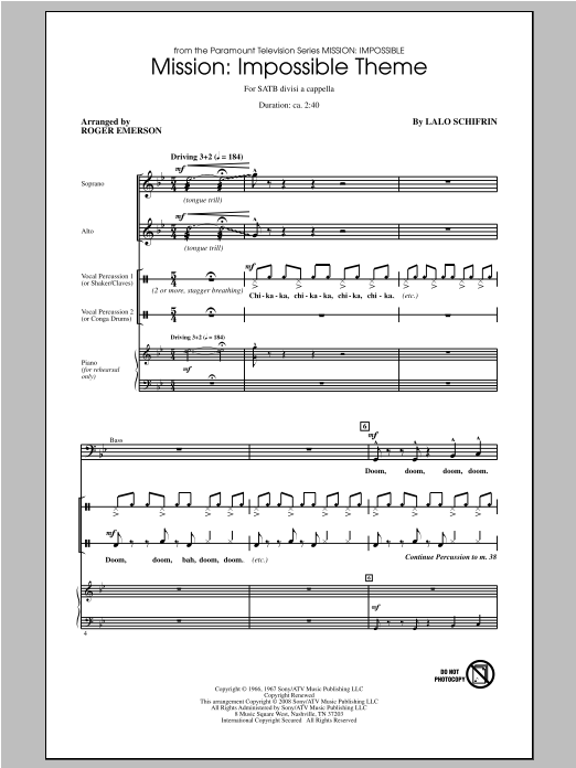 Lalo Schifrin Mission: Impossible Theme (arr. Roger Emerson) sheet music notes and chords