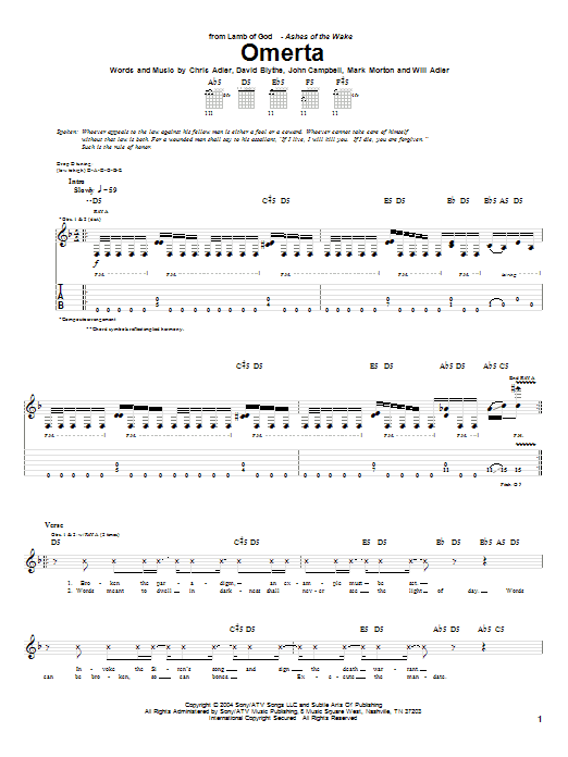 Lamb of God Omerta sheet music notes and chords. Download Printable PDF.