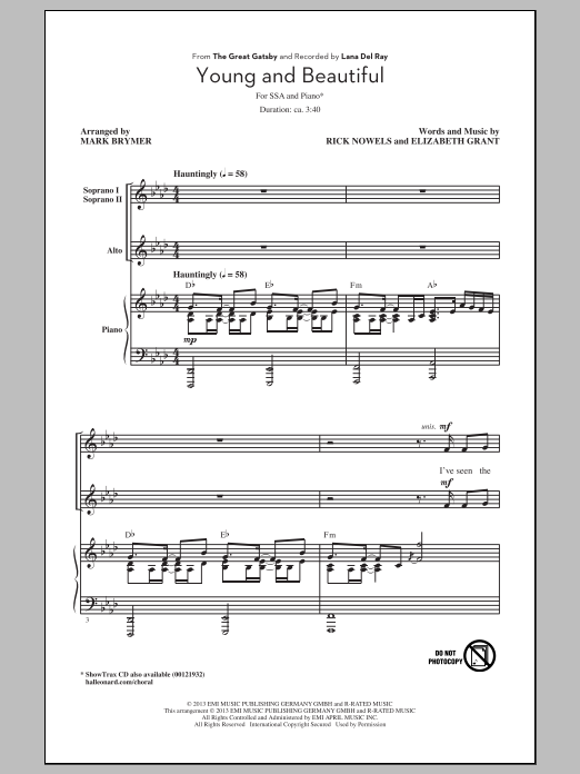 Lana Del Rey Young And Beautiful (arr. Mark Brymer) sheet music notes and chords. Download Printable PDF.