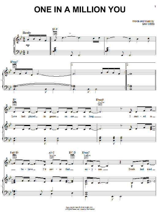 Larry Graham One In A Million You sheet music notes and chords. Download Printable PDF.