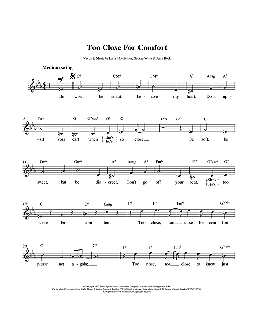 Larry Holofcener Too Close For Comfort sheet music notes and chords. Download Printable PDF.